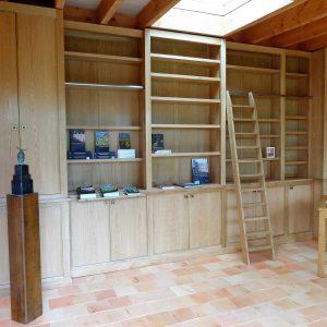 Bibliothèque chêne naturel, finition huile dure